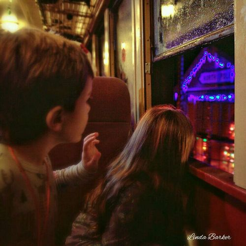 The Polar Express train arrives at the North Pole while the little ones eagerly wait for a glimpse of Santa Claus... Christmas Children Polar Express Train