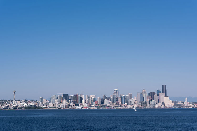 Architecture Cityscape Clear Sky Copy Space Elliott Bay Harbor Low Angle View Pacific Northwest  Puget Sound Seattle Seattle Skyline Seattle, Washington Skyline Space Needle Urban Geometry Washington Backgrounds Blue Blue Sky cityscapes Full Frame Landscape Travel Destinations Urban Urban Skyline