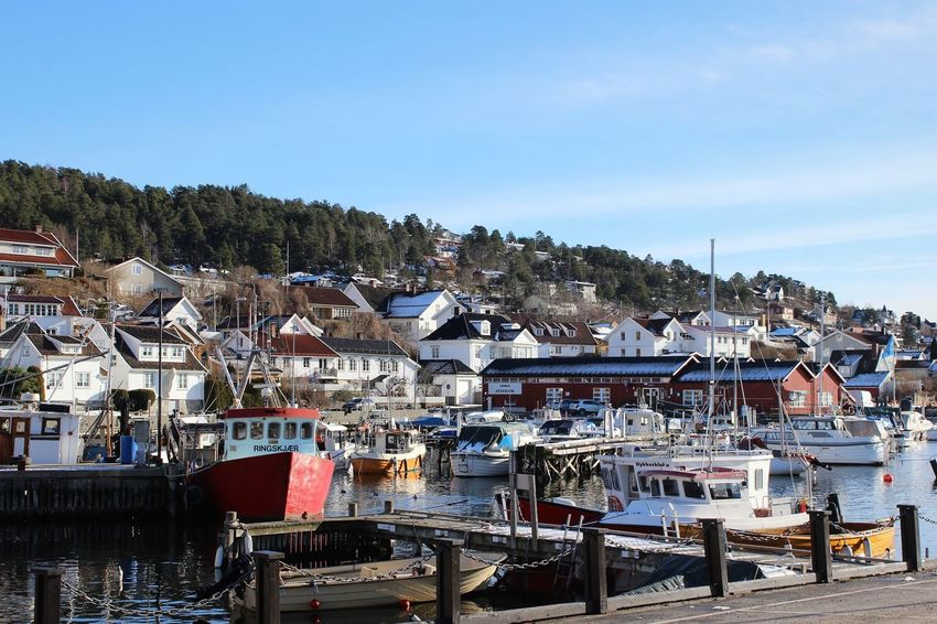 Drøbak Norway Travel Destinations Harbor View Outdoors Harbor Sea Houses Scenics Sunlight Boats Built Structure Architecture Commercial Dock Oslofjord Sea_collection Day Clear Sky Winter An Eye For Travel