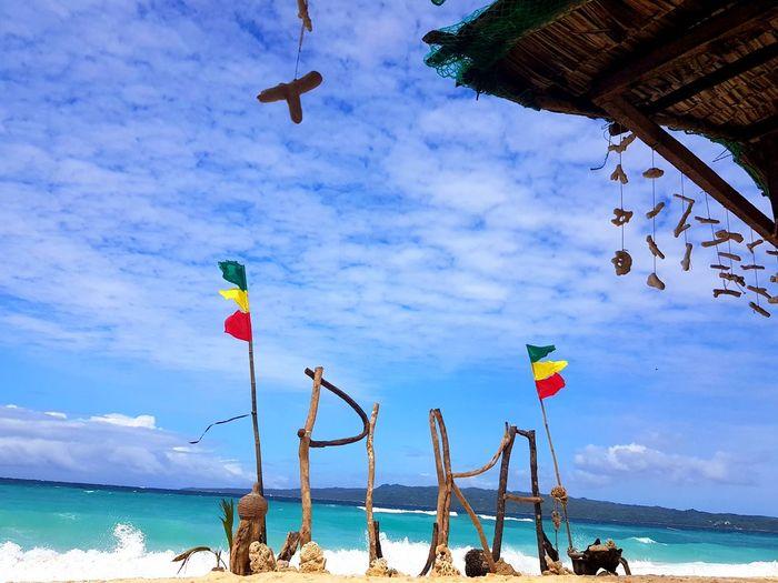 Puka Shell Beach Philippines Boracay EyeEmNewHere Flag Water Sea Nautical Vessel Flying Beach Hanging Flag Sky Horizon Over Water Cloud - Sky