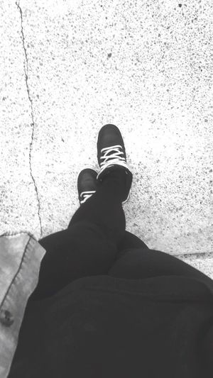 I'm ready to go Standing This Is Me Nikes Legs My Legs Black And White Photography Black Leggings Long Legs