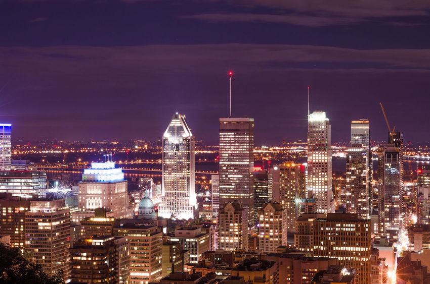 Montreal, Canada Mount Royal Hill Montreal Night Photography Night View Of Downtown Architecture Building Exterior Built Structure City Cityscape Illuminated Modern Night No People Outdoors Sky Skyscraper Travel Destinations Urban Skyline