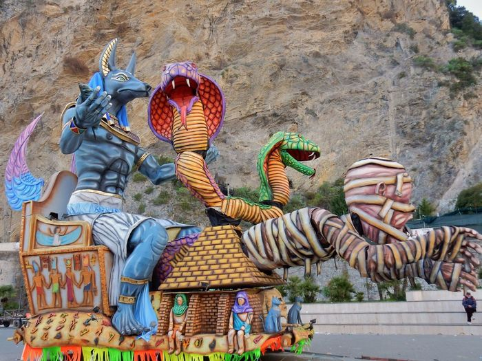 Maiori, Campania, Italy - March 4, 2019: Allegorical floats in the square of the port for the 46th edition of the Grand Carnival of Maiori Italy Campania Salerno Italy Grand Carnival Of Maiori Amalfi Coast Colorful Floats Carnival - Celebration Event Allegorical Floats Maiori, Day Art And Craft Representation No People Creativity Sculpture Multi Colored Architecture Craft Statue Outdoors Nature Human Representation Belief