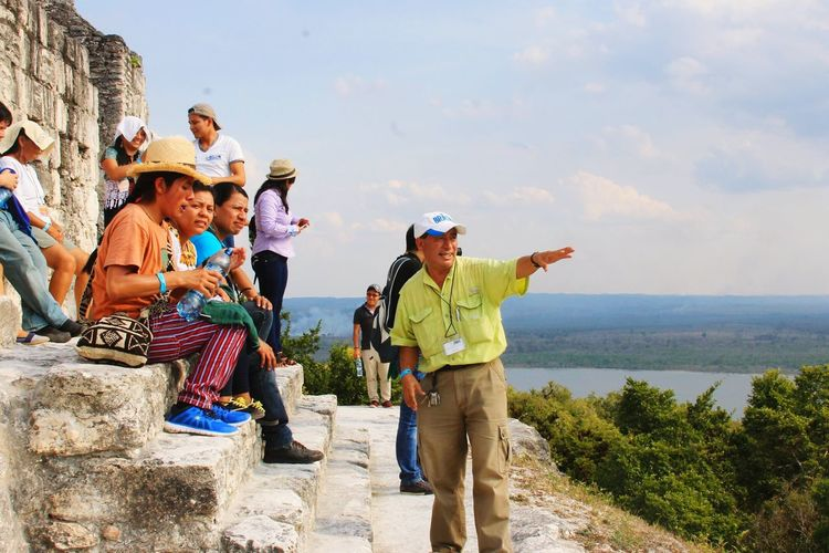 People And Places Archaeology Epigraphy Yaxha Mayan Ruins Outdoors Cloud - Sky Guatemala Peten AntonioCuxil Excursion Friendship Canon EOS T3 Togetherness Maya Epigraphy Excursion by Antonio Cuxil on Yaxha, mayan ruines situated in The region of Peten, Guatemala.