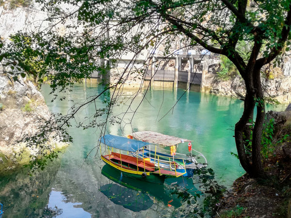 Matka lake near Skopje, Macedonia Holiday Nature Summertime Beauty In Nature Boat Branch Day Green Water High Angle View Lake Lakeshore Mode Of Transport Moored Nature Nautical Vessel No People Outdoors River Riverbank Summer Transportation Travel Destinations Tree Vessel Water