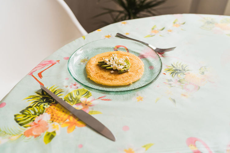 High angle view of dessert in plate on table