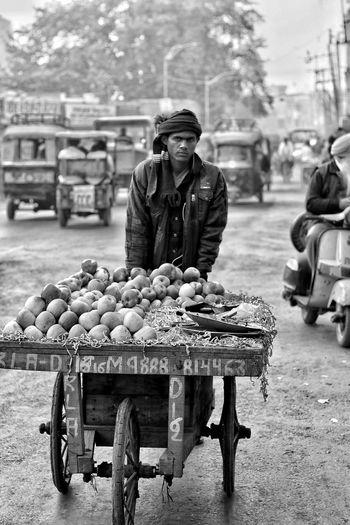 For Sale One Man Only Occupation Real People City Food Working Hard Sellingfruits Blackandwhite