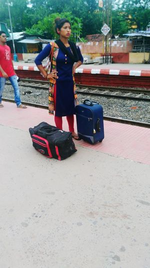 Tired With Luggage At Belgharia Rly Platform