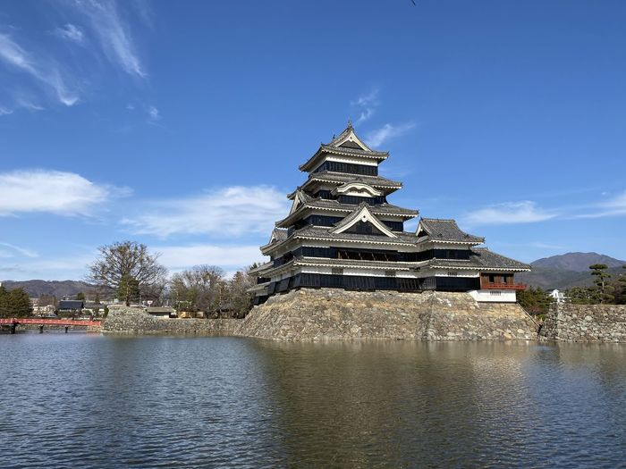 Traditional building by lake against sky