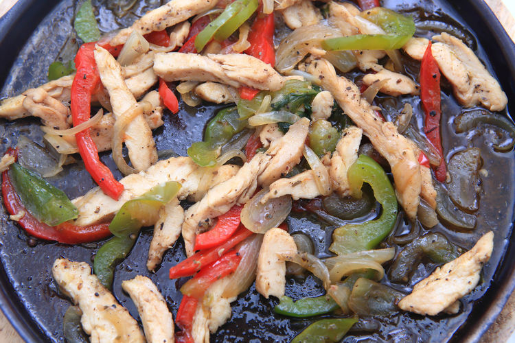 Bell Pepper Chicken Chicken Meat Close-up Cooking Pan Dinner Food Food And Drink Freshness Healthy Eating High Angle View Indoors  Kitchen Utensil Meat No People Onion Pepper Ready-to-eat Still Life Vegetable Wellbeing