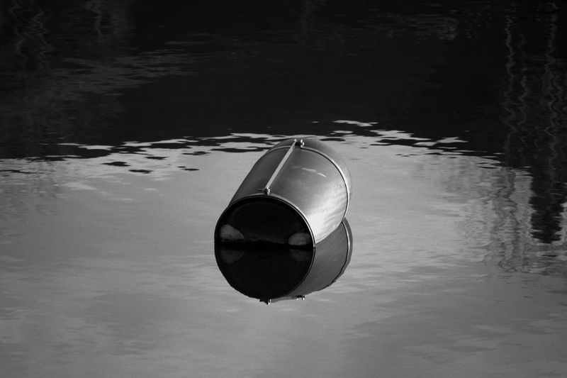 High angle view of reflection on water
