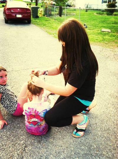 Me Puttin My Babygirls Hair Up:)