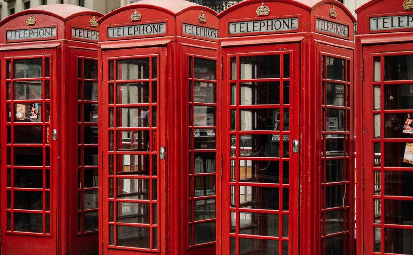 Calling London Cityscape Telephone Box Travel Photography United Kingdom Emblem  Next To Each Other Red Color Red Telephone Box Symmetry Telephone Booth Telephonebox Travel Destinations