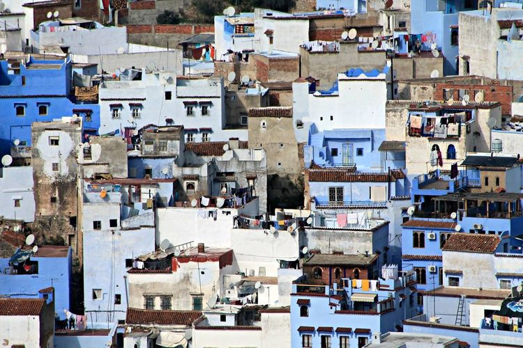 Crowded Building Exterior High Angle View Architecture Cityscape House City Town Residential Building Built Structure Outdoors Community Day Housing Settlement Horizontal People Chaouen Subculture Poorpeople