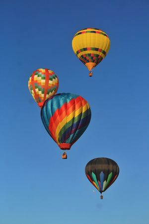 Hot Air Balloon Multi Colored Flying Air Vehicle Low Angle View Clear Sky Ballooning Festival Adventure Outdoors Day