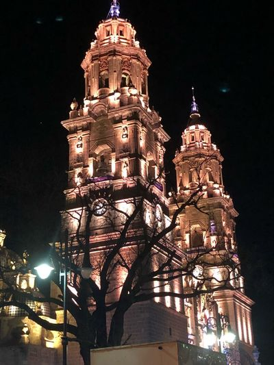 Catedral de Morelia Built Structure Night Architecture Illuminated Building Low Angle View Tower Tree Tourism No People City Travel Destinations Tall - High Sky Nature Travel Place Of Worship Outdoors Religion