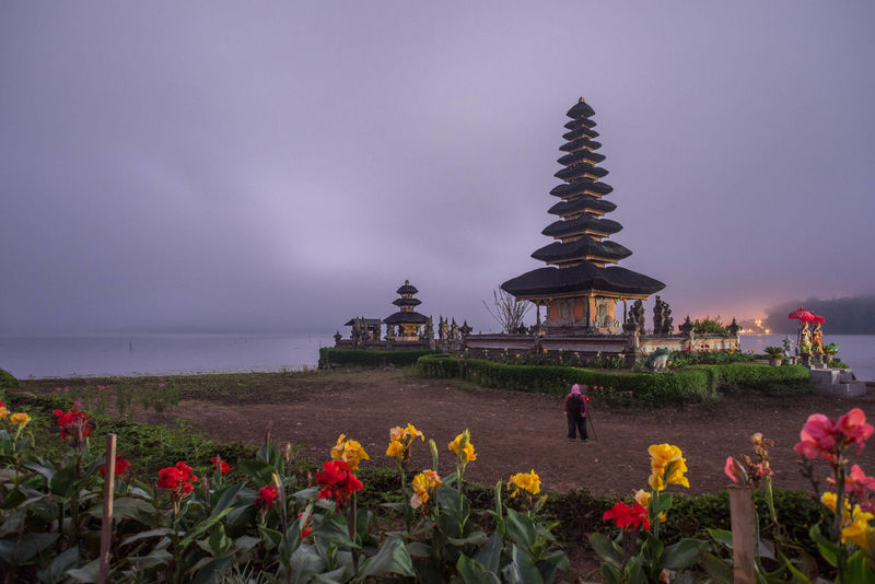 Pura Ulun Danu Bratan, a major Shivaite temple in Bali, Indonesia Architecture ASIA Bali Cloud - Sky Day Flower Hindu Hindu Temple Hinduism House Of Worship INDONESIA Lake Nature No People Outdoors Pura Ulun Danu Bratan Temple Religion Sea Sky Temple Tourist Tourist Attraction  Travel Travel Destinations