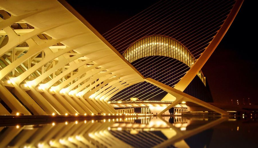 Water Reflections Valencia, Spain From My Point Of View Photography Streetphotography Nightphotography Night Lights Eye4photography  Architecture Amazing Architecture