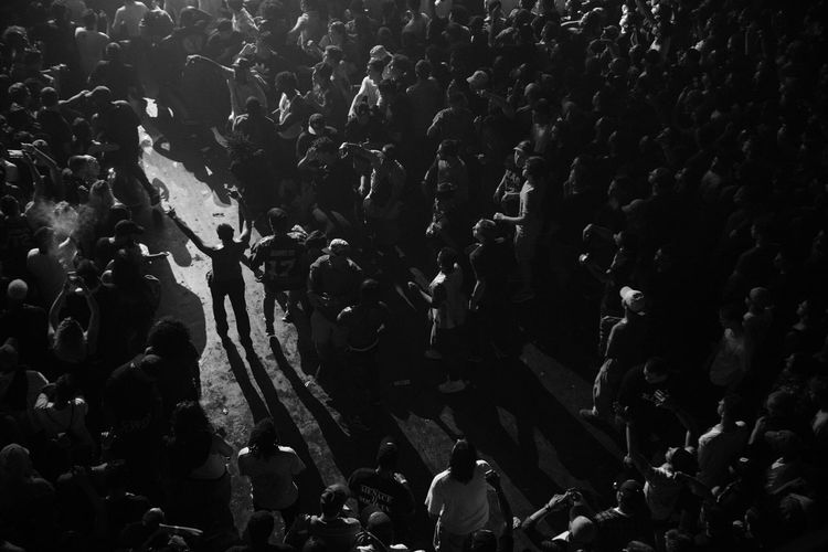 High angle view of crowd at night