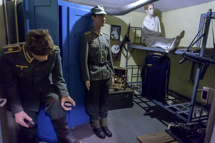 Battery Vineta - German fortifications from World War II on the island of Wolin (Poland). Currently a museum. Bed II World War Kriegsmarine Mannequin Mannequins Soldiers Uniforms Wehrmacht Clothing Full Length Group Of People History Human Representation Occupation Standing Uniform