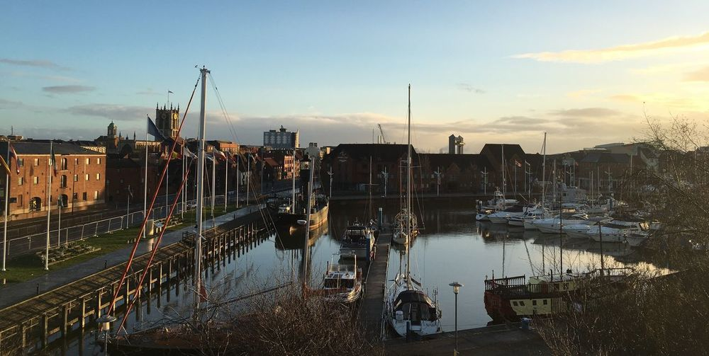 Balcony View Water Moored Nautical Vessel Reflection Harbor Port Of Hull Cityscape Hull Marina Winter Sky Hull City Of Culture 2017 Looking Over Water Yachts Masts