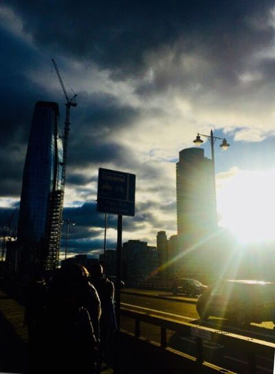 London On A Bridge Sunbeam People People Watching Moody Sky Sunset Architecture Traffic Sky Skyscraper Clouds And Sky See The Light EyeEm In London