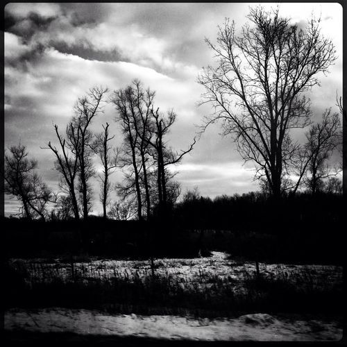 Winter driving landscape #hipstamatic #trees #sky #clouds