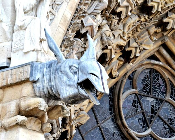 If Statues could talk... Architecture, Gargoyles on the old Cathedral - is it a Moose ? Rheims Champagne Church Gothic Style Detail Close-up Wild Animal Sculpture