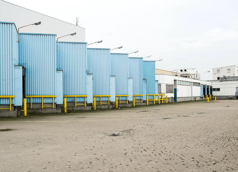 Logistic Architecture Blue Building Exterior Built Structure Commerce Connection Engineering House Industrial Industrial Area Lagerhaus Logistic Lot Outdoors Trade Transportation Warehouse