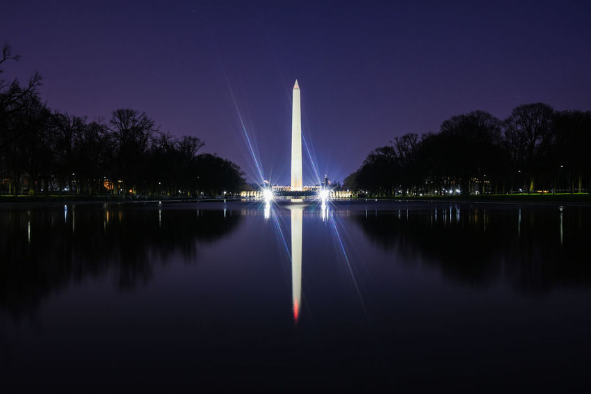 Monumental. Reflection Symmetry Night Tree Travel Destinations Long Exposure Tranquility Water No People Outdoors EyeEm Masterclass EyeEm Best Shots Government Property Politics And Government Washington, D. C. USA America Illuminated Architecture Government Washington Monument Nightphotography Water Reflections EyeEm Gallery Building Exterior