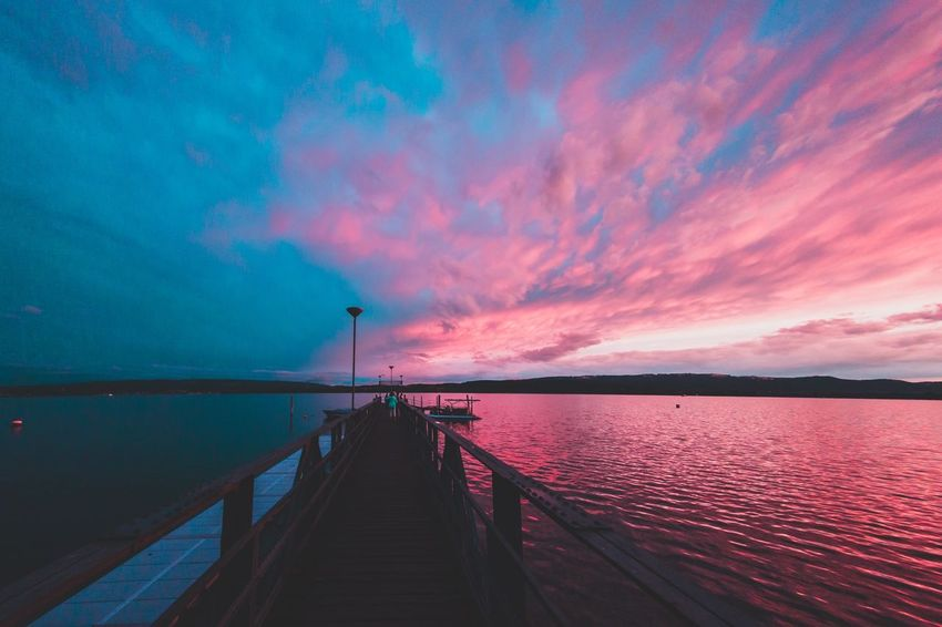 Pink-cyan Bodenseebilder Bodenseeregion Bodensee Sea Water Sky Scenics Tranquil Scene Beauty In Nature Cloud - Sky Nature Sunset Outdoors