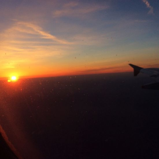 Sunset and Landing Sunset Flying Sky Sun Airplane Wing