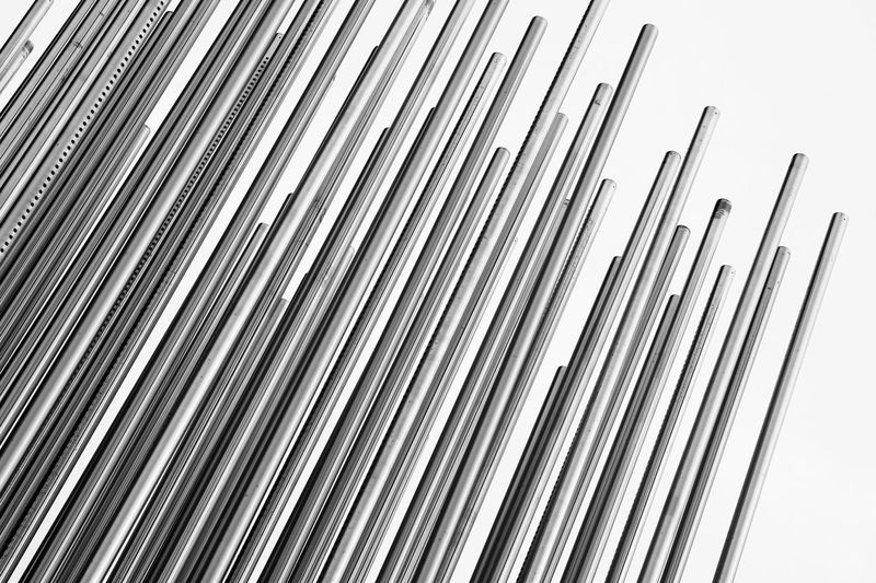 Metal Pattern Large Group Of Objects Silver Colored In A Row Repetition Shiny Silver - Metal Abstract Blackandwhite