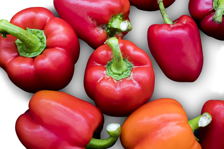 isolated fresh red bell pepper or capsicum on a white background Is a organic and nutritional vegetable Pepper Bell Red Isolated Isolated White Background Color Green Food Food And Drink Closeup Healthy Eating Freshness Fresh Bright Object Nobody Organic Tasty Nutrition Vegetable Gourmet Eating Ingredient Vegetarian Raw Ripe Vitamin Vivid Arrangement Whole Paprika Capsicum Bulgarian Colorful Horizontal Fruit Juicy Multicolored Vegan Bell Pepper No People Close-up Red Bell Pepper Large Group Of Objects Backgrounds Green Color