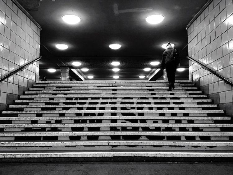 Hermannplatz Metro Station Ubahn Berlin Ubahn Neukölln Berlin Stairs Metro B&w Berlin Lovers Urbanphotography Berlincity Be Berlin Capture Berlin Blackandwhite Real People One Person Night City