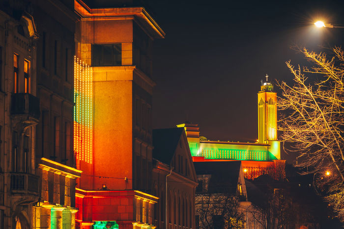 Colorful building. Lights festival Architecture Church City Lietuva Colorful Lights Festival Long Exposure Night