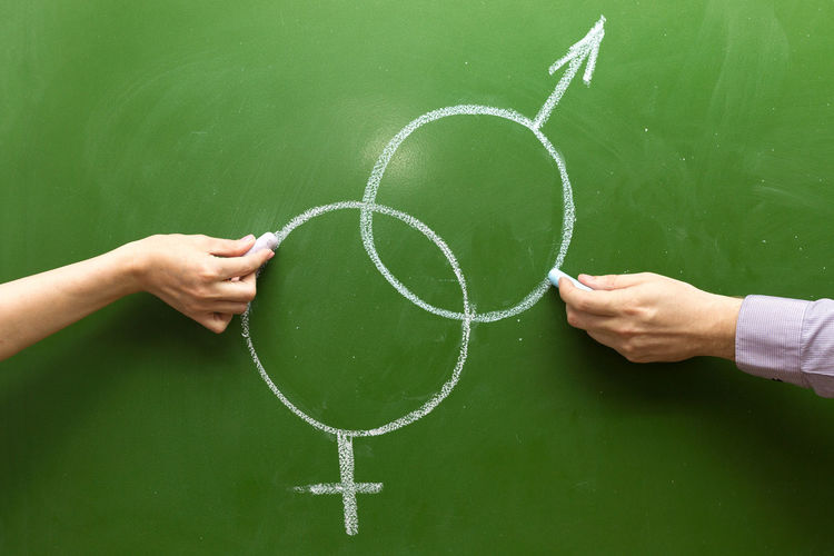 Male and female hands draw symbols of masculine feminine principle with chalk on the blackboard.
