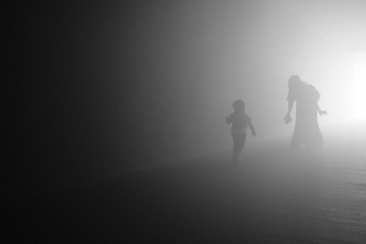 Real People Togetherness Leisure Activity Girls Silhouette Lifestyles Adventure Two People Child Childhood Full Length Men Indoors  Foggy Fog Day Running ^ - ^ The Week On EyeEm Black And White Friday