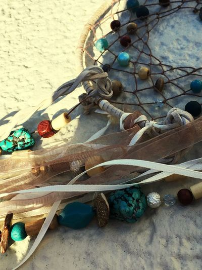 Delicate Stones Material Handmade Intricate ColorsOfMexico Ribbon Beads Dreamcatcher High Angle View Beach No People Outdoors Sand Day Close-up