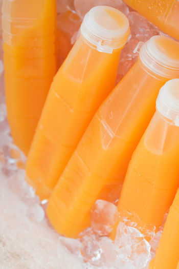 Freshness Ice On Ice Close-up Cold Temperature Day Drink Drinking Glass Food Food And Drink Freshness Healthy Eating High Angle View No People Orange Color Orange Juice  Outdoors Plastic Ready To Drink Refreshment Squeezed Vertical