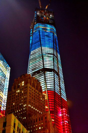 Architecture NYC Night Looking Up Downtown Blue Red White Freedom Tower NeverForget OneWTC 1 WTC  Tallest Structure