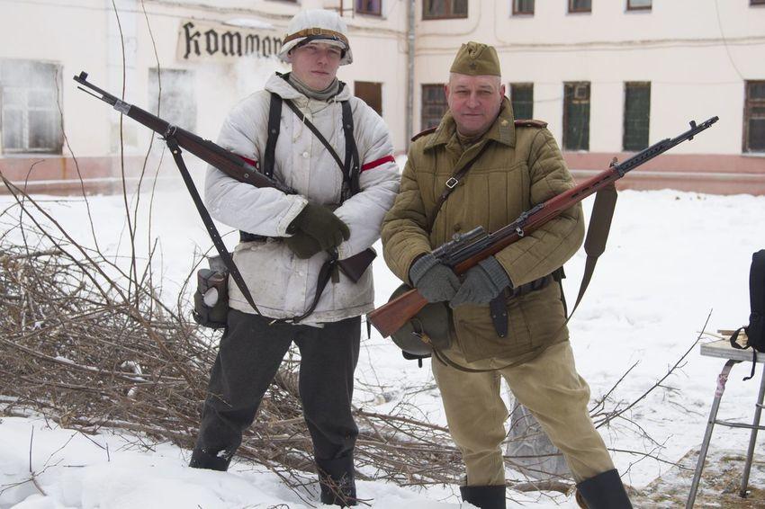 реконструкция в ЧВВАКУШ 23 февраля 2016 история советский Немецкий солдат винтовка мосина Mauser 98k