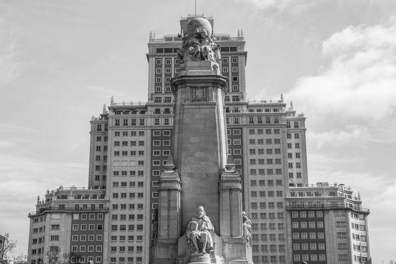 Low angle view of monument to miguel de cervantes at plaza de espana