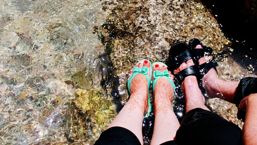just married couple Fresh Freshnesss EyeEmNewHere EyeEm Nature Lover Eyem Couple Love Just Married Henatattoo Bride Hena Loving Couple Low Section Water Standing Human Leg Men Directly Above Shoe High Angle View Personal Perspective Close-up Footwear Human Foot
