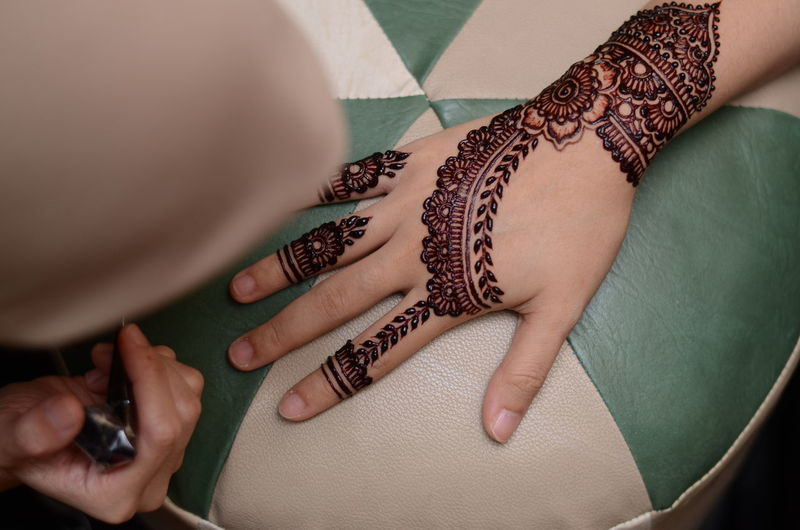 High angle view of woman hands