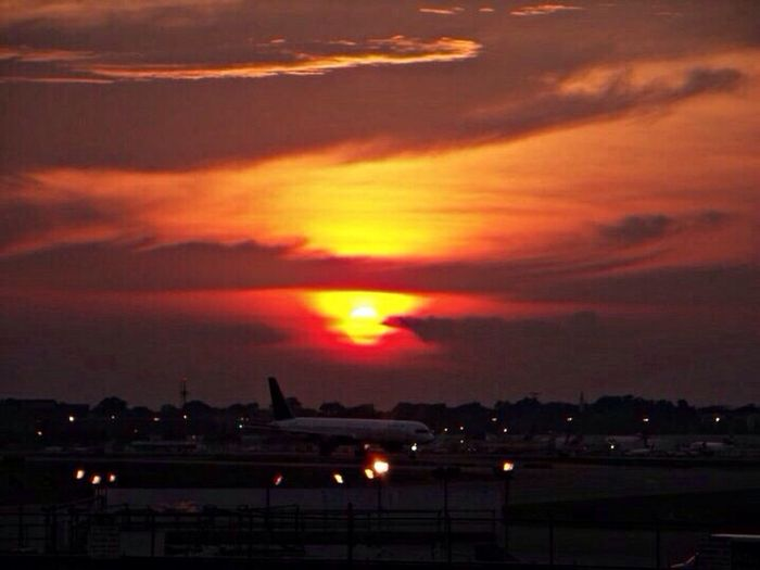 Watching a sunrise at the airport. EyeEm Best Shots - Sunsets + Sunrise Sunrise WeatherPro: Your Perfect Weather Shot Sunset #sun #clouds #skylovers #sky #nature #beautifulinnature #naturalbeauty #photography #landscape