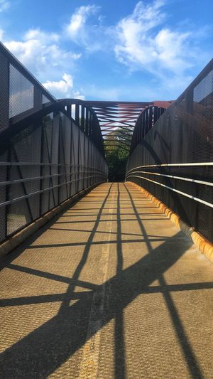 Shadows and sky Footbridge Shadow Blue Sky Shadows & Light Shadow Sky Sunlight Cloud - Sky Fence Nature Day Safety Protection Security The Way Forward Boundary No People Barrier Direction Chainlink Fence Bridge Metal Railing Built Structure