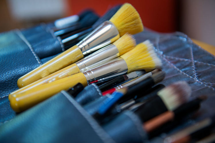Close-up of make-up brushes in pouch