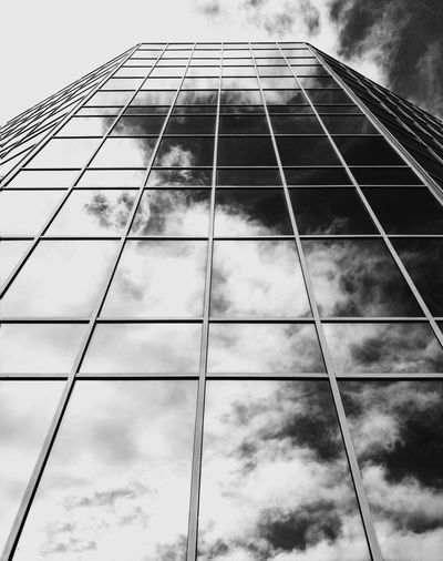 Cloud - Sky Sky Low Angle View Architecture Built Structure Building Exterior Day No People Modern City Real Life Blackandwhite Light And Shadow Black And White Photography