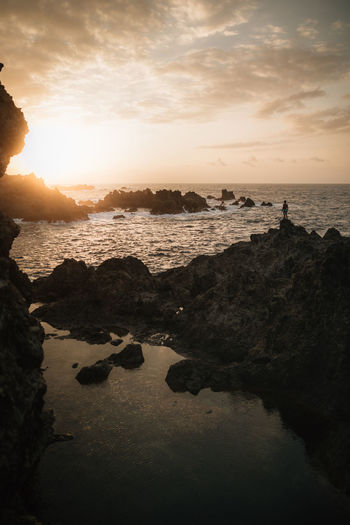 September EyeEm Best Shots EyeEm Nature Lover EyeEm Selects EyeEmNewHere Nature Sunset_collection Beach Cloud - Sky Idyllic Land Nature Outdoors Reflection Rock Rock - Object Scenics - Nature Sea Sky Solid Sun Sunset Tenerife Tranquil Scene Tranquility Water